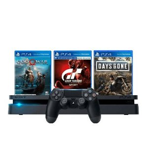 Console PS4 Slim 1TB Preto + God of War + Gran Turismo Sport + Days Gone + 3 Meses PSN