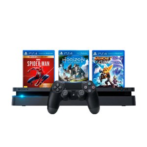 Console PS4 Slim 1TB Preto + Spider Man + Horizon Zero Dawn + Ratchet e Clank  + 3 Meses PSN