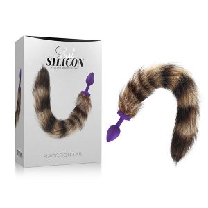 Plug Anal com Cauda Lust Silicone – Plug Raccoon Tail Silver