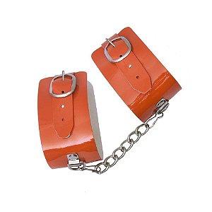 Algema Bracelete em Verniz Laranja DOMINATRIXXX - Sex shop