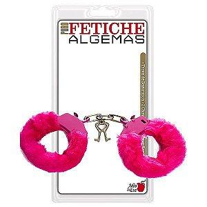 Algema Erótica em metal revestida de pelúcia rosa - Fetiche Sexshop