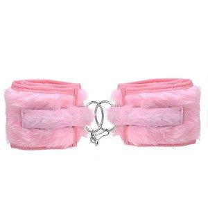 Algema feito em pelúcia com ajuste feito em velcro rosa - Sexshop