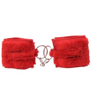 Algema feito em pelúcia com ajuste feito em velcro Vermelha - Sexshop