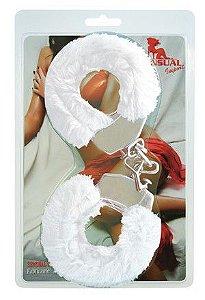 Algema Inox com pelúcia Branca - Sex Shop