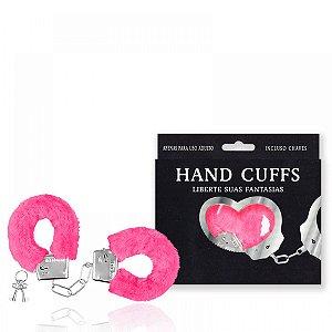 Algemas reguláveis com chaves e pelúcia rosa - Sexshop