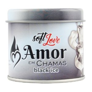 Amor em Chamas Vela BLACK ICE Hot Beijável 50g Soft Love - Sex shop