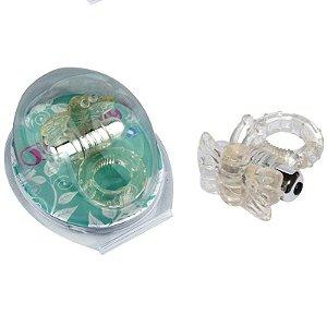 Anel Peniano Com Vibrador e Estimulador Borboleta Com 7 Velocidades - Sexshop