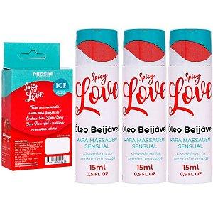Kit 03 Gel Comestível Spicy Love Ice MORANGO 15ml Pessini - Sexshop