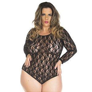 Body Escândalo Plus Size Preto Pimenta Sexy - Sexshop
