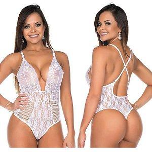 Body Mimo Branco Renda Pimenta Sexy - Lingerie Sexy