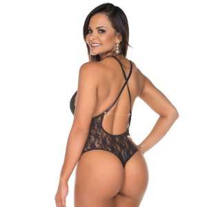 Body Mimo Preto Renda Pimenta Sexy - Lingerie Sexy