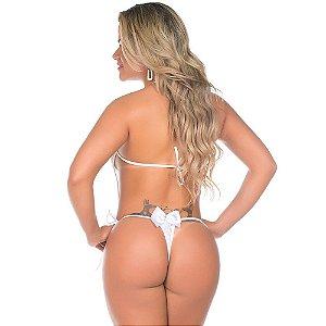 Body Renda Branco Pimenta Sexy - Sexshop