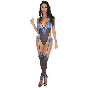 Body Sexy Dany Pimenta Sexy Preto com Azul - Lingerie Sexy