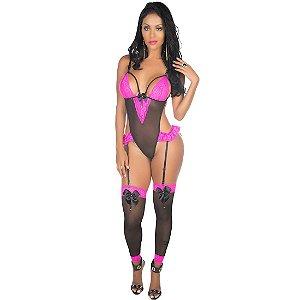 Body Sexy Dany Pimenta Sexy Preto com Pink - Lingerie Sexy