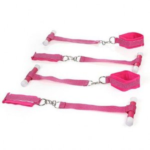 BONDAGE - Kit com 4 Amarras para Prender na Porta - Rosa - Sexshop