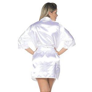 Camisola Robe Cetim Curto Branco Pimenta Sexy - Sex shop