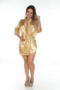Camisola Robe Cetim Curto Dourado Pimenta Sexy - Sex shop
