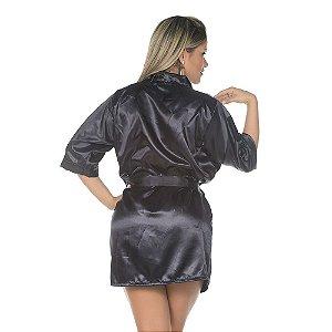 Camisola Robe Cetim Curto Preto Pimenta Sexy - Sex shop