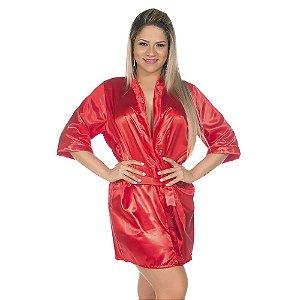 Camisola Robe Cetim Curto Vermelho Pimenta Sexy - Sex shop