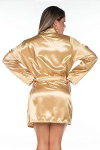 Camisola Robe em Cetim Dourado Pimenta Sexy - Sex shop