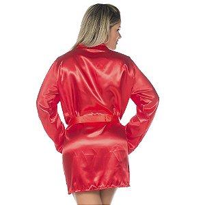 Camisola Robe em Cetim Vermelho Pimenta Sexy - Sex shop