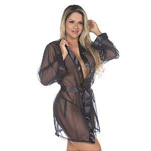 Camisola Robe ROMÂNTICO Preto PIMENTA SEXY - Camisola Sexy