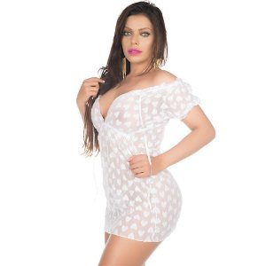 Camisola Sensual Ciganinha Pimenta Sexy Branca - Camisola Sexy