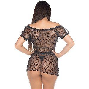 Camisola Sensual Ciganinha Pimenta Sexy Preta - Camisola Sexy