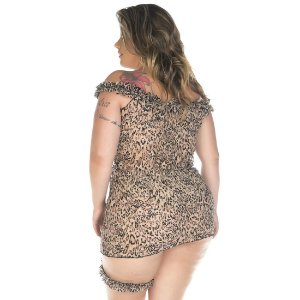 Camisola Sensual Plus Size Oncinha Chick Pimenta Sexy - Sexshop