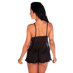 Camisola Sensual Renda Aberta Pimenta Sexy Preta - Sexshop