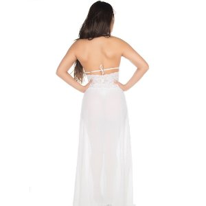 Camisola Sensual Renda Longa Pimenta Sexy Branca - Camisola Sexy