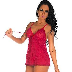 Camisola Sensual Renda Pimenta Sexy Vermelha - Sexshop