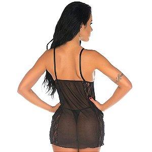 Camisola Sensual Tuane Preta Pimenta Sexy - Sexshop