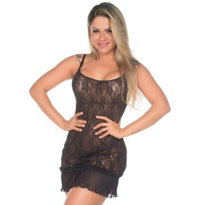 Camisola Sexy Drapy Preto Pimenta Sexy - Camisola Sexy