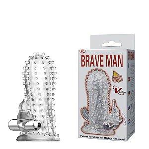 Capa peniana texturizada com cápsula vibratória - BRAVE MAN - Sexshop