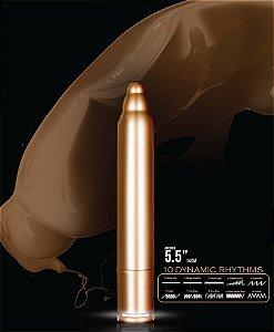 Cápsula metálica dourada 14 cm com luz de Led e 10 velocidades - X POINTER - NANMA - Sexshop