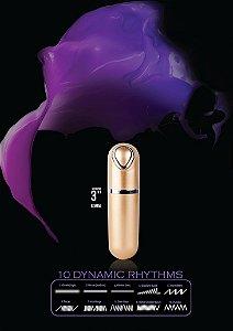Cápsula metálica dourada 8 cm com luz de Led e 10 velocidades - X POINTER - NANMA - Sexshop