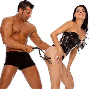 Chicote BDSM Curto, com 9 tiras 40cm - Sexshop