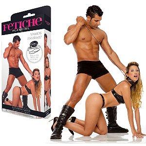 Coleira guia BDSM com detalhes em metal - Sexshop
