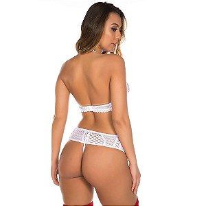 Conjunto Sensual Paris Branco Pimenta Sexy