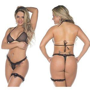 Conjunto Sexy Preta Pimentinha Pimenta Sexy - Sex shop