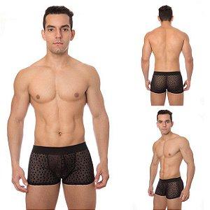 Cueca Boxer Tule Corações - Sexy shop