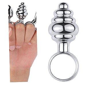 Plug Anal Pequeno ondulado com Anel de Segurança - Sex shop