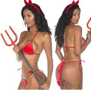 Fantasia Feminina Diabinha Pimenta Sexy - Sexshop