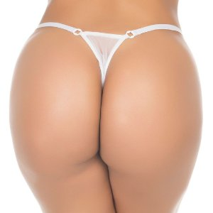 Fio Dental Paetê Playboy Pimenta Sexy Branca - Calcinha Sexy