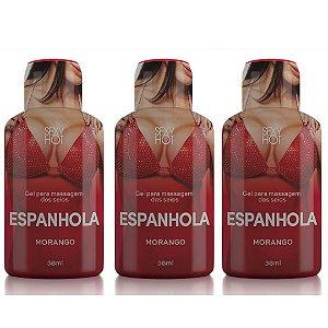 KIT 03 Gel para massagem dos seios ESPANHOLA Morango