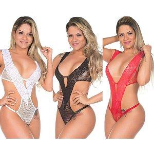 Kit 03 Body Arrastão Pimenta Sexy - Lingerie Sexy