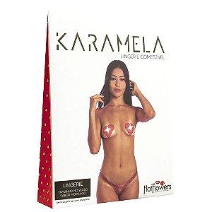 Kit 03 Calcinha e Seios Sabor Morango Comestíveis KARAMELA Hot Flowers - Sex shop
