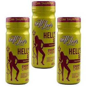 Kit 03 Energético HELLS SEX WOMAN Energy Drink 60ml SoftLove - Sexshop