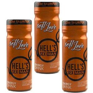 Kit 03 Energético Hells SexMan Energy Drink 60ml SoftLove - Sex shop